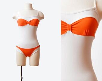 Vintage 70s Swimsuit One Piece Bathing Suit Color Block Bikini Print / 1970s Swim Suit White Orange Onepiece Retro Extra Small xs