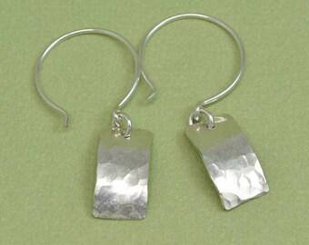 Sterling Silver Earrings rectangle earrings hammered modern earrings