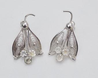 Vintage Clear Rhinestone Earrings Sterling Silver Screw Back Earrings