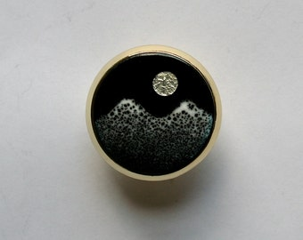 Enamel Cabinet Knobs / Moonlit Mountains / Copper Enamel Drawer Pulls