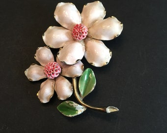 Flower Brooch ~ Flower Pin ~Pink & Green ~ Shabby Chic ~ Vintage