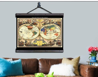 "World Pull Down Map. World Map 1928, 48""w x 36""h,  School Chart, School Map, Wall Chart, Hanging Map, Antique wall map,  The World 1928"