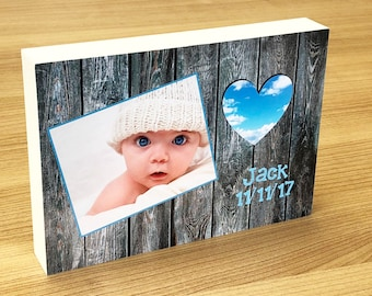 "Premium personalised 25mm thick photo block 6x4"" or 7x5"" - professionally printed  (personalise your text and Photos) vintage / heart"