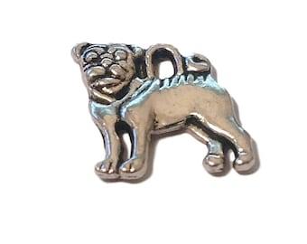20 BULK Silver Pug Charms   Pug Jewelry   Dog Charm   Dog Jewelry   Pug Pendant   Pet Charm   Pet Charm   Ready to Ship USA   AS225-20