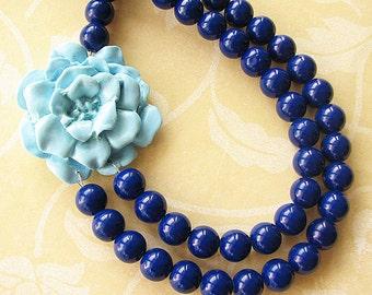 Statement Necklace Bib Necklace Beaded Necklace Navy Blue Necklace Flower Necklace Double Strand