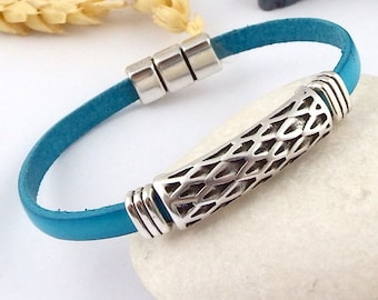 turquoise leather bracelet chic ethnic style silver