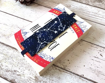 Constellations Elastic Bookmark, Reversible Fabric Bookmark, Glow in the Dark Cotton Page Marker, Book Lover Accessories, Bookstagram Props