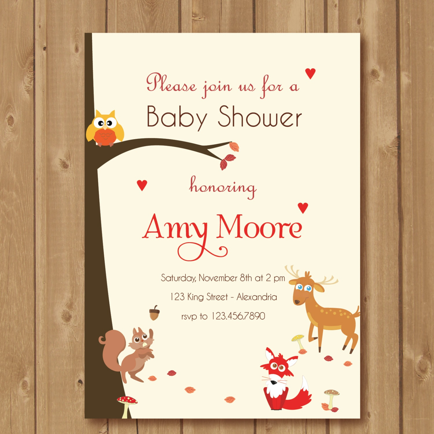 Woodland Baby Shower Invitation Baby Shower Invite With