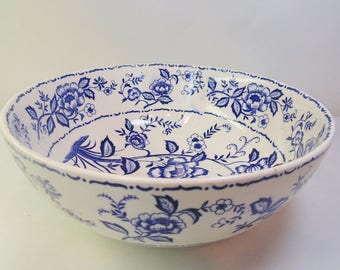 Ceramic. Mixing Bowl. Blue Flowers. Blue. Transferware. Large. Serving. Bowl. vintage 1950s. vintage kitchen. 1950s kitchen. OurVintageHouse