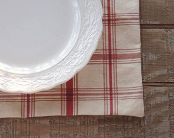 French Country Red and Cream Plaid Placemats Set of 4 Custom Order Table Mats Table Decor Waverly Country Life