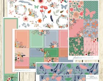 Sans Souci, Flower Stickers, Build Your Own Planner Sticker Kit, Full Boxes, Decorative, Half Boxes, Pastels, Bouquets, Florals, Pink
