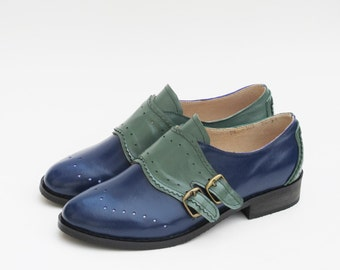 Leather Handmade Green Blue Oxfords Brogue Vintage-inspired Wedding Gifts Shoes Monk