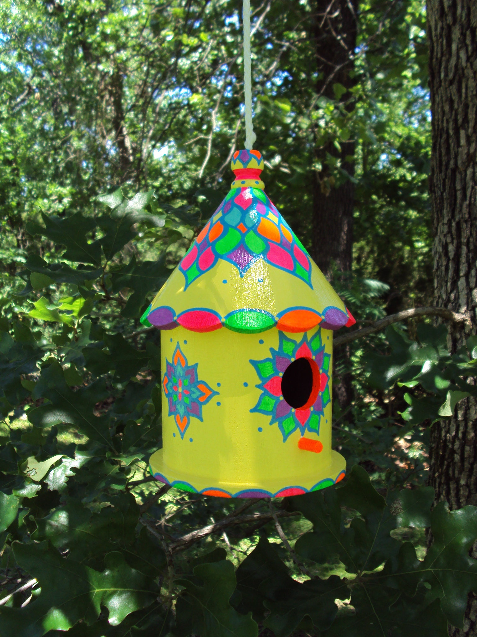 Hand Painted Decorative Round Birdhouse Bright Colors Original on round bell designs, round animal designs, round jewelry designs, round house designs, round clock designs, round box designs, round dragon designs, round barn designs, round flowers designs, round arbor designs, round floral designs, round angel designs, round mirror designs, round butterfly designs, round garden designs, round baby designs, round boat designs, round art designs,