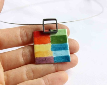 Enamel Chromatic Necklace, Sterling silver and Copper Enamel, CMYK, Colorful, Watercolor