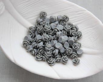 Tiny Gray Rose Cabochons