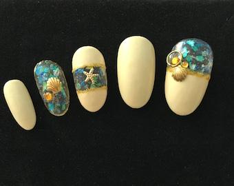 Manicure | Artificial nails | Shell Chrome Bling | Starfish | Press on nails | Sea Shell | 3D nail art | Nail tips | Fake nails | Nail set