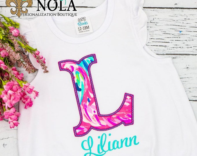 Featured listing image: Letter Applique, Lilly Pulitzer Fabric Monogram, Lilly Pulitzer Fabric Applique
