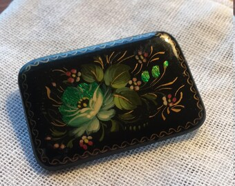 Russian hand painted vintage brooch pin