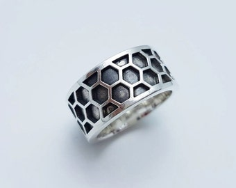 Honeycomb Ring, Fashion Honeycomb Ring,925 Sterling Silver, Black