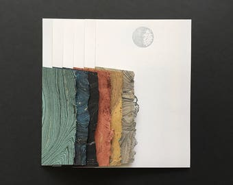 Stationery in Space - 6 Letterpress Silver Moon Letter Papers & 6 Marbled Envelopes
