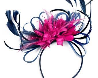 Navy Blue Hoop & Fuchsia Hot Pink Fascinator On Headband