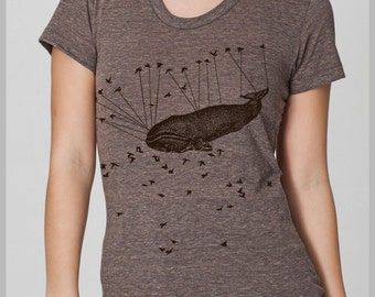 Women's T Shirt Liberated by Aviation American Apparel S, M, L, XL 8 COLORS Whale Birds Steam Punk Shirt Womens Clothing