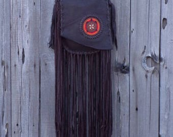 Fringed boho leather handbag with a beaded turtle , boho leather handbag , boho designer bag , Long fringed handbag , beaded turtle totem