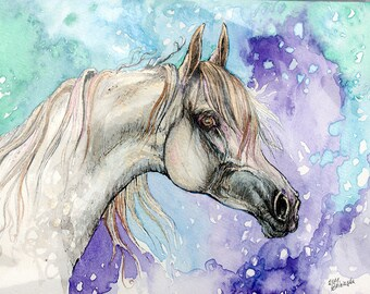Arabian horse, equine art, cheval, horse portrait, equestrian, original pen and watercolor painting