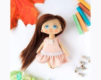 Unique cloth doll Rag doll Textile doll Personalized fabric doll Tilda doll Unique personalized doll OOAK soft doll Rag interior doll Gift