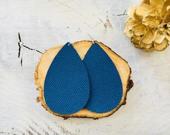 Deep Sea Blue Saffiano Leather Earrings- Leather Earrings