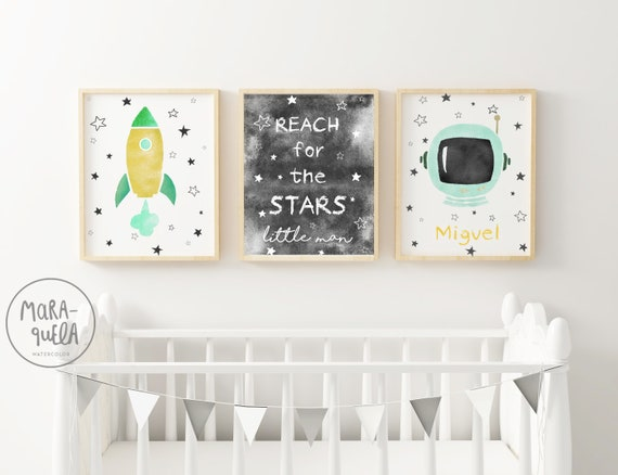 SET Astronauta Espacial verde Mint y amarillo / Mint Baby decor - ASTRONAUT Set
