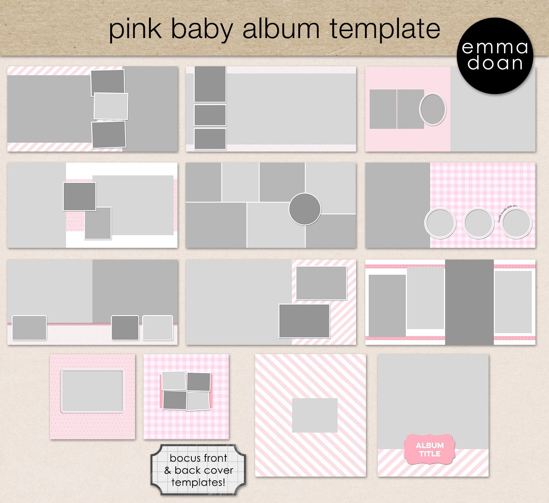 Pink Baby Album Template, 12x12\