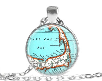 Cape Cod vintage map necklace pendant, Massachusetts Jewelry, map pendant charms, Cape Cod Map Gift, Ideas for women, nana gift, A245