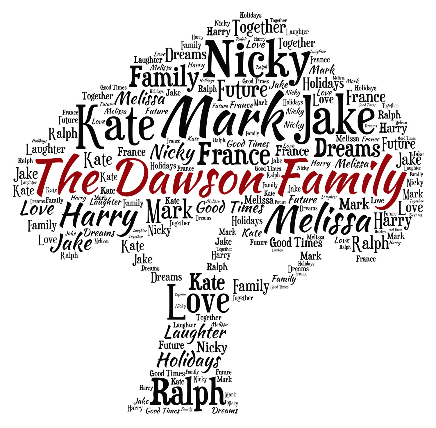personalised word art family tree design a4 print or