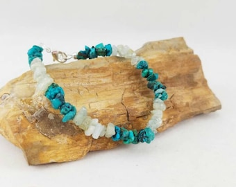 Aquamarine and turquoise bracelet, boho jewelry, fashion accessory, aqua marine, turquoise jewelry, aquamarine jewelry, body novelties