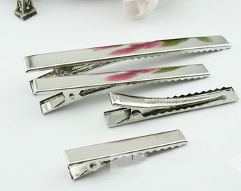 Wholesale 100pcs Silver /Black clip - 11mmx57mm Silver tone/Black  Flat Metal Hair Alligator Clip