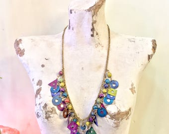 Vintage Charm Necklace   Vintage Costume Jewelry   Beaded Necklace   Metal Beads   Colorful Necklace   Dangle Necklace   Holiday Gift Idea