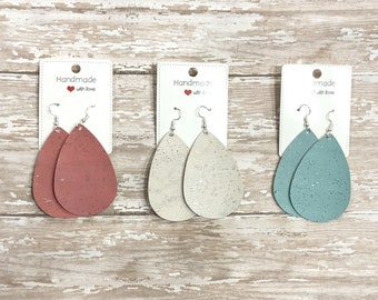 Spring Cork Leather Trio Set Coral Cream Turquoise Blue Leather Teardrop Drop Earrings