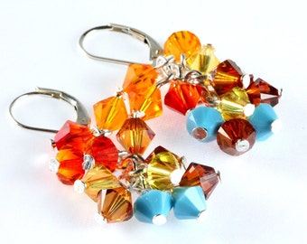 Swarovski Crystal Cluster Earrings, Sonoran Blend, Southwest Colors, Sterling Silver