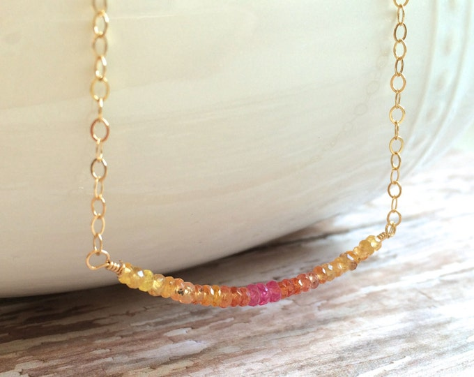 Pink Sapphire Necklace on Gold--  Sparkling Pink, Orange and Yellow Gemstones Perfect for Layering