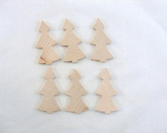 "Christmas tree primitive unfinished, tree cutout, Christmas tree cutout, 2 3/16"" tall DIY set of 6"