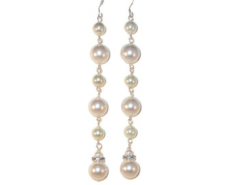 "SWAROVSKI Cream PEARL Earrings Super Long 4-3/8"" Handcrafted Elements"