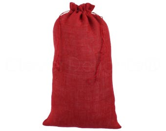 "10 Pack - 12"" x 20"" Red Burlap Bags - Natural Burlap Bags with Jute Drawstring for Christmas and Holiday Gifts - Rustic Decor Favor Pouch"