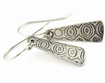Sterling Silver Short Taper Earrings, Geometric Pattern, Oxidized, Handmade