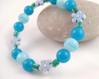 Blue Beaded Bracelet with Flowers, Medium Girls Bracelet, GBM 109