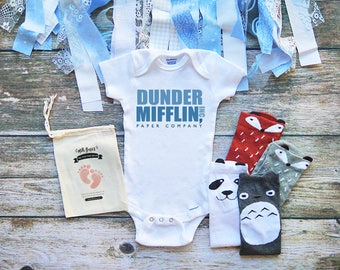 Dunder Mifflin Baby Onesies® Baby Clothes - The Office Onesie - Michael Scott - Jim Halpert - Pam Beasley - Dwight Schrute - M355