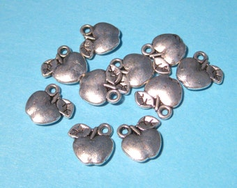 Antique Silver Apple Charms Pendants Double Sided