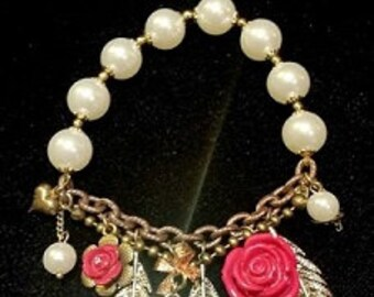 After Life Accessories Repurposed Stretch Charm Bracelet Pink Flowers and Feathers