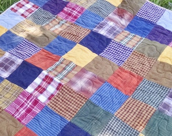 ON SALE! Was 250 now 225, Plaid Flannel Quilt, Patchwork Flannel Quilt, Brown, Green, Pumpkin, Gold, Blue, Rust, Traditional Patchwork Quilt