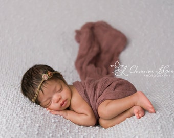 Cheesecloth Baby Wrap SET, Brown Halo, Earth Halo, Baby Halo SET, Cheesecloth WRAP, Newborn Prop, Newborn Photo Prop, Newborn Fabric Layer